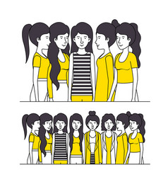 Group of women with yellow clothes vector