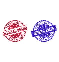 grunge scratched original brand stamp seals vector image