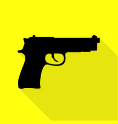 gun sign black icon with flat style vector image