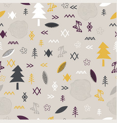 hand drawn tribal seamless pattern with forest vector image