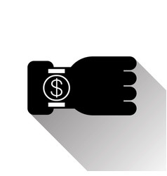 hand with smart watch dollar sign icon mobile vector image