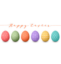 Happy easter eggs set of whtie easter eggs with vector