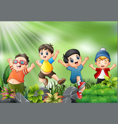 happy kids jumping and laughing with the nature sc vector image