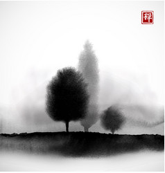 Landscape with trees in fog hand drawn with ink in vector