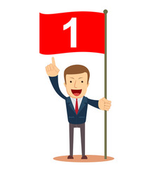 man holding number one flag successful start up vector image