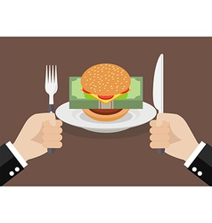 Man prepare to eat burger with money vector