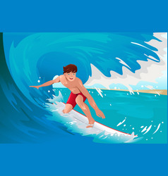 man surfing on ocean vector image