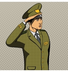 Military man salutes pop art style vector image