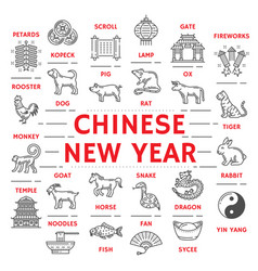New year poster zodiac animals and chinese icons vector