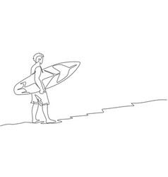 one continuous line drawing young happy vector image