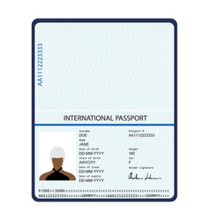 Passport identification document vector