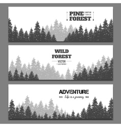 Pine forest horizontal banner set vector image
