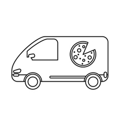 pizza delivery car van service outline vector image