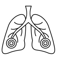 pneumonia lungs icon outline style vector image