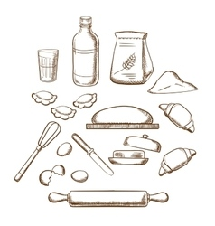 Process kneading dough in sketch style vector