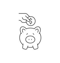 putting coin in piggy bank on white background vector image