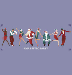 Retro christmas party group of four men and four vector