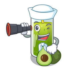 Sailor with binocular avocado smoothies are vector