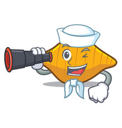sailor with binocular conchiglie pasta mascot vector image