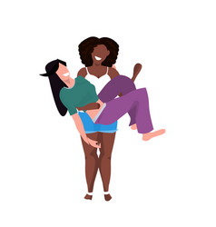 Same gender couple lesbian african american girl vector