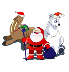 Santa and animals vector