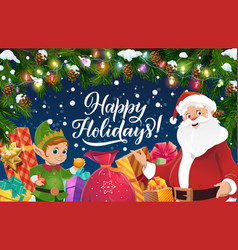 santa with christmas gifts and new year garland vector image