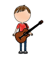 scribble faceless guitar man cartoon vector image