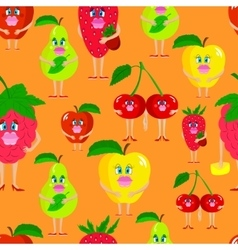 Seamless cute lady fruits vector
