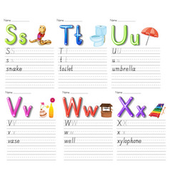 Set alphabet worksheet on white paper vector