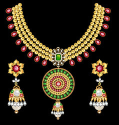 set indian wedding necklace and earrings vector image