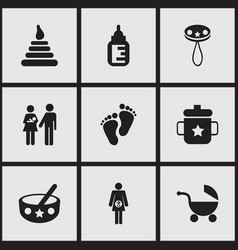 set of 9 editable kid icons includes symbols such vector image