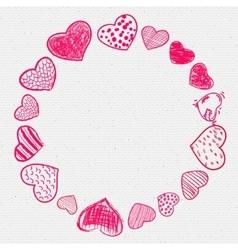 Set of doodle hearts frame vector image