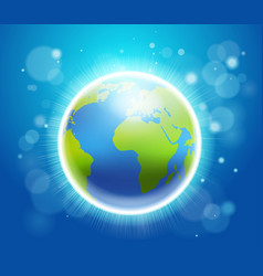 Shining earth on blue bokeh background 22 april vector