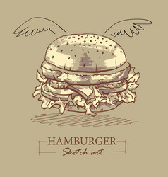Sketch art a veggie burger vector
