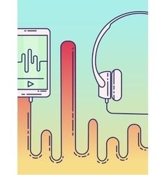 Smartphone with earphones vector image