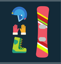 Snowboard sport clothes tools elements helmet vector