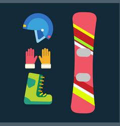 snowboard sport clothes tools elements helmet vector image