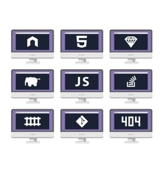 software coding icon set - programming vector image
