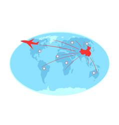 Spreading coronavirus via airlines on world map vector