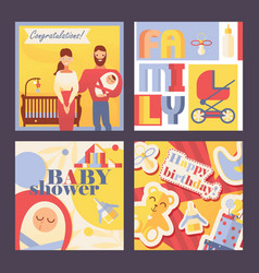 square cards with family and kids for vector image