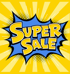 Super sale banner yellow message blue star vector