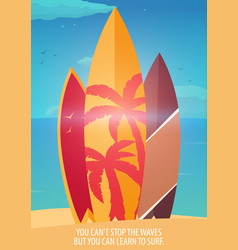surfing banner and poster surfboards on a beach vector image