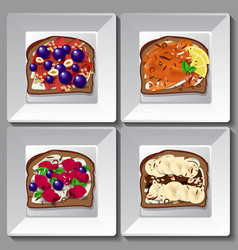 sweet sandwiches with berries and fruit vector image