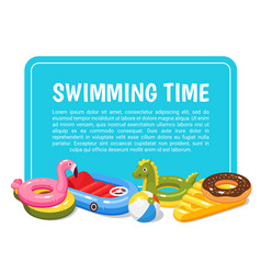 Swimming pool kids cartoon banner summer holidays vector