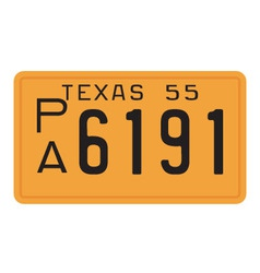 Texas 1955 license plate vector image