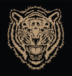 tiger angry tiger face tiger knife head tiger ta vector image