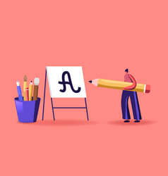 Tiny woman with huge pen practicing in spelling vector