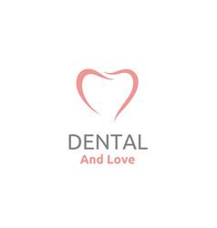 tooth teeth dentist dental heart love logo vector image