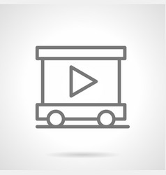 Trailer with video advertising outline icon vector