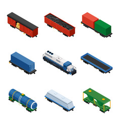 Trains isometric set freight trains consisting vector